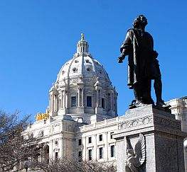 Minnesota State Capital Building with Columbus Statue in Foreground